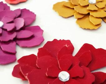 Faux Leather Die Cut  Flowers -  Leatherette Die Cut  Tattered Flower - Faux Leather Flowers - Spring - Summer Colors - 1 Pieces