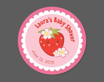 Strawberry Favor Stickers - Birthday Party Favor Stickers - Baby Shower Favor, Personalized, Strawberry Party, Strawberries, Round, Circle