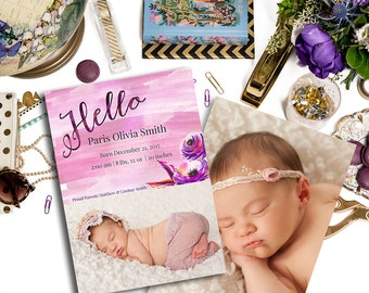 LS Hello Baby Girl Announcement Template