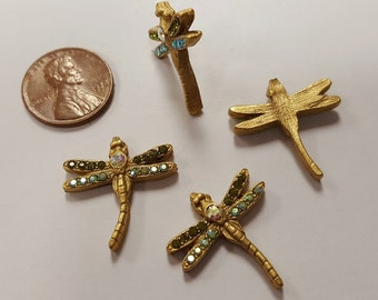 1 Green Rhinestone Dragonfly Antique Gold 22mm. Cabochon Finding R803