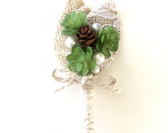 "Succulent Boutonniere-Rustic Wedding Boutonniere- Mens Wedding Boutonniere-Groom's Accessories- ""Rustica"""