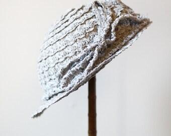 1920s blue straw hat // 1920s summer hat // vintage hat