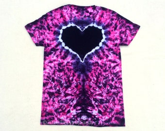 Small Pink and Purple Heart Tie Dye Shirt