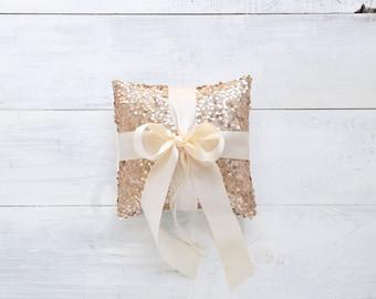 "Wedding 8"" Ring Bearer Pillow - Champagne Sequin and Ivory Satin Bow - Ring Pillow, Ring Bearer Pillow, Wedding Pillow, Sequin Ring Pillow"