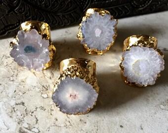 Druzy Ring Adjustable,Raw Stone Ring,Druzy Cigar Ring,Solar Quartz Ring,Gold Quartz Ring,Cigar Ring,Boho Adjustable Druzy Ring,Solar Quartz