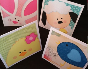 Set of 4 Spring Faces cards