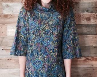 Vintage 1960s Paisley Print Shift Dress