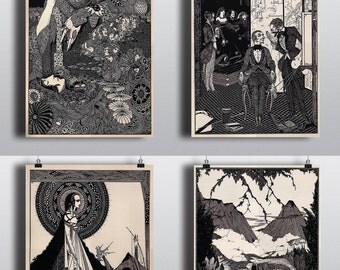 Antique Edgar Allan Poe Art Print Set -- Four 11x14 Prints-- Harry Clarke Illustrations Raven Prints Poster Wall Art Edgar Allan Poe Book