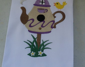 Embroidered Guest Towel or Kitchen Dish Towel TEAPOT BIRDHOUSE
