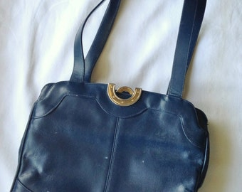 Vintage Leather Purse 1960's Lou Taylor Navy Kelly Style Purse with Swivel Mirror