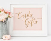 Blush Pink Cards and Gifts Sign for Wedding // Printable Wedding Signs // Caramel Gold and Pink Wedding Signage