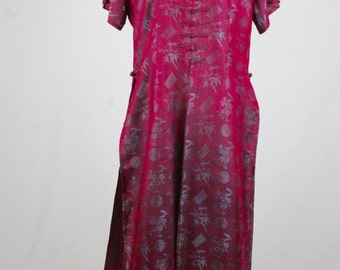 Vintage Asian Silk Bamboo and Cherry Blossoms Lounge Pajamas XXL