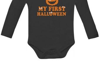 My First Halloween Pumpkin Face Long Sleeve Baby Onesie