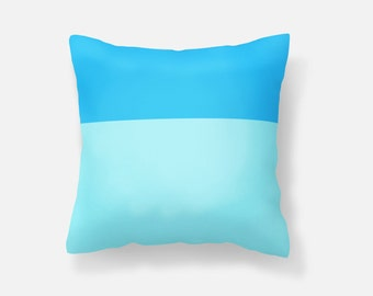Blue Throw Pillow Cover, 18x18 pillow cover, colorblock pillow cover
