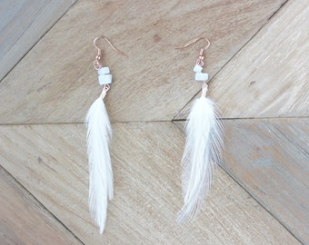 Rose Gold & White Quartz Natural Feather Earrings