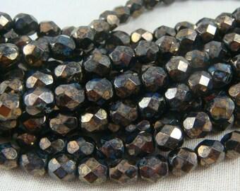 Czech Beads, 6mm Czech Glass Fire Polished Beads - Jet Black Bronze Picasso Luster (FP6/SM-BT2398) - Qty. 25