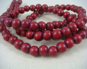 "Wooden Beads - 8mm Dark Red Wooden Beads - Cranberry Red Beads (9464) - 16"" Strand"
