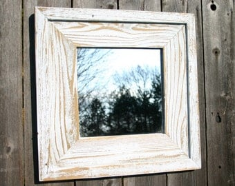 """White Rustic, reclaimed wood, barnwood mirror. Hand crafted, distressed, mirror.  20 3/4"""" x 20 3/4"""""""