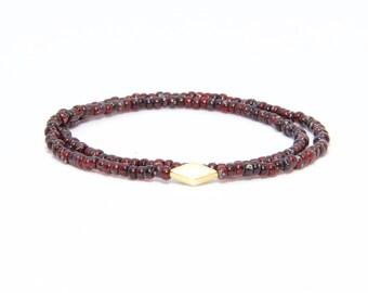 Beaded Bracelet in 18K Solid Yellow Gold - Beach Boho Stretch Cord - Czech Glass Ruby Red - Men Women Unisex Gift Him Her