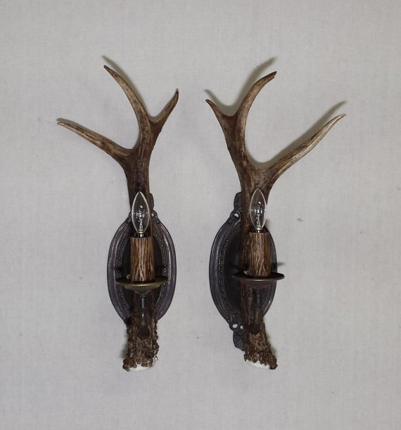 Elk Lighting Owner: NEW Matched Pair Of Spike Elk Antler Wall Sconces By