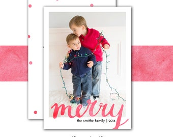 Watercolor Christmas Card, Merry, Holiday Card, Photo Christmas Card, Watercolors, Confetti, Red, Printed or Printable
