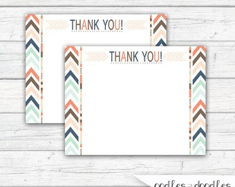 Tribal Thank You Note, Boho, Printable Tribal Cards, Tribal Party, Tribal Stationery, Printable Thank You Notes, Arrows, Feathers, Chevron