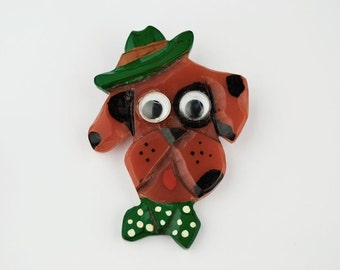 1940s/50s Vintage Brooch Early Plastic Dog with Moving Eyes
