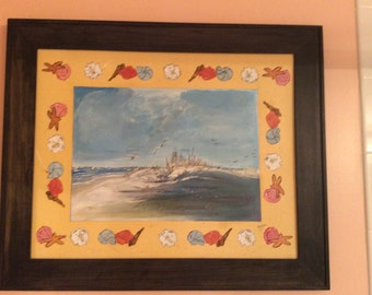 Seashells by the Seashore - Seashells surround the Seashore painting - 20 x 24 frame