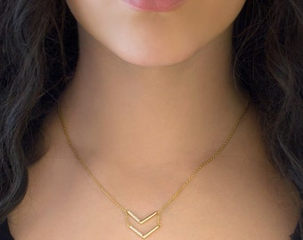 Gold Chevron Necklace, Layered Necklace, Gold Necklace, Layered Chevron Necklace, Gold Necklace, Layering Necklace, Gold Chevron, N242-G