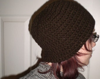 Crochet Beanie Hat - Chocolate Brown