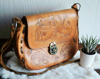 Mexican Tooled Leather CrossBody Purse