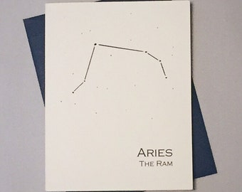 Aries Constellation Zodiac Sign Birthday Card / Horoscope / Astrology  Astronomy Card / March - April Birthday