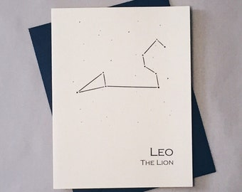 Leo Constellation Zodiac Sign Birthday Card / Horoscope / Astrology  Astronomy Card / Card for July - August Birthday