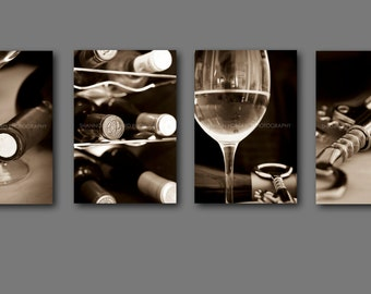 Wine Photography Print Set  Sepia wine Art Winery California Restaurant Wine Bar Kitchen Art Dining Room Hotel, Black and White