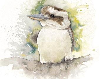 Laughing Kookaburra 11.8 x 10.6'' A3 Print, Watercolor Illustration, Painting, Australian Birds, Wall Decoration, Ornithology