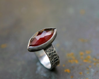 Siren Ring - Red Garnet Ring - Sterling Silver Wide Band Gemstone Ring - Rose Cut Garnet - January Birthstone - Blood Red Ring
