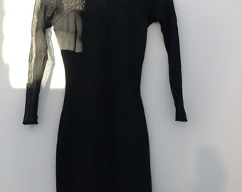Sheer black 90s fitted dress
