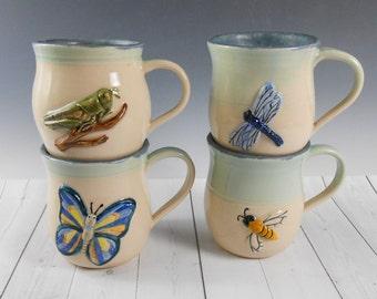 Hand painted bug coffee mug - insect coffee cup - ceramic coffee mug - bug coffee mug - dragonfly mug - butterfly tea mug - pottery mug M82