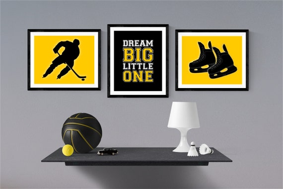 Hockey Nursery Decor - Hockey Bedroom Wall Art - Game Room Wall Decor - Hockey Decor - Hockey Gift Set - Play Room Wall Art - Sports Decor