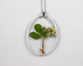 Wild Strawberry (Fragaria virginiana) Botanical Jewelry, Herbarium Pendant, Wildflower Necklace, Gifts for Gardeners, Kitchen Witchcraft