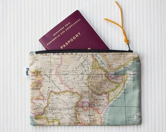 Zipper Travel Pouch, Passport Cover, Mens & Womens Travelers Zipper Wallet, World Map Bag, Wanderlust Nomad Purse, Inclined to Travel