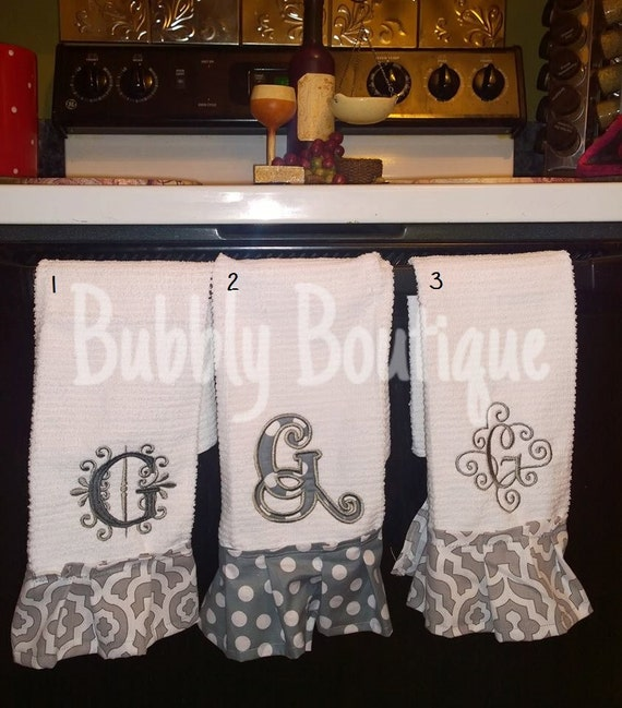 Custom Embroidered Kitchen Hand Towel With Monogram And