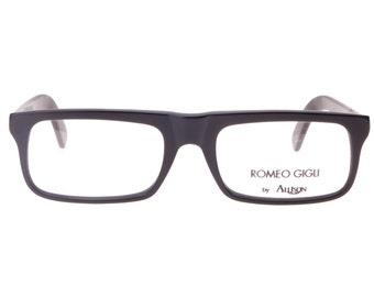 romeo gigli black squared geek flat top eyeglasses frames in matte or polished black cello nos 1980s