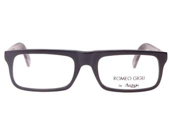 romeo gigli black squared geek flat top eyeglasses frames in matte or polished black cello nos 1980s