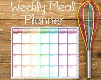 Printable Weekly Menu Planner ** Rainbow Theme ** Meal Plan * PDF