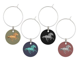 Horse Wine Glass Charms, Horse Glass Tags, Horse Glass Markers, Horse Gifts, Horses, Horse Wine Charms, Horse Stuff, Horse, 4/set