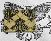 Screen Printed Tiger Moth Calf Leather Envelope Wallet - Light Ochre
