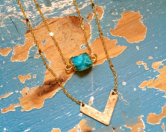 Druzy & Small Gold-Filled Chevron Layered Necklace