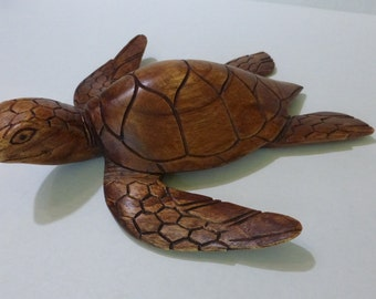 Monkeypod Wood Carved Sea Turtle Figurine - Tiki - Tropical