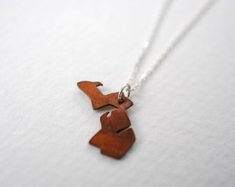 Copper Michigan Upper and Lower Peninsula Pendant Necklace (Copper MI State Necklace on a Vintage Style Sterling Silver or Gunmetal Chain)